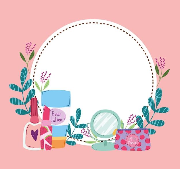 Schoonheid make-up spiegel bodylotion nagellak lippenstift kit en florale decoratie vectorillustratie