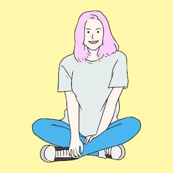 Schoonheid meisje hand getrokken illustratie