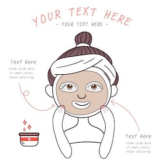 Schoonheid meisje met gezichtsverzorgingsmasker