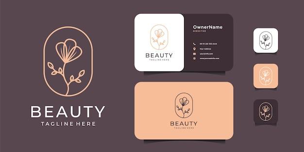 Schoonheid minimalistisch vrouwelijk bloemlogo-ontwerp met sjabloon voor visitekaartjes.