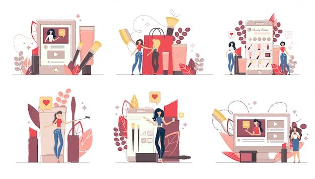 Schoonheid mode blog concept illustratie set