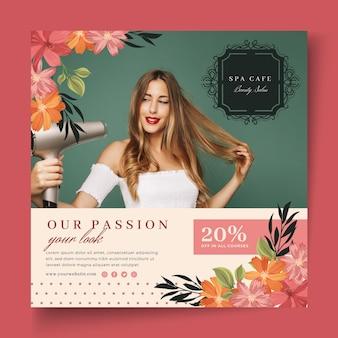 Schoonheid mode salon flyer vierkante sjabloon