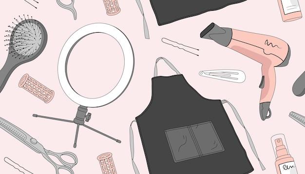 Schoonheid naadloos patroon met kappersbenodigdheden