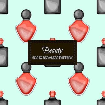 Schoonheid naadloze patroon met parfum. cartoon-stijl. vector illustratie.