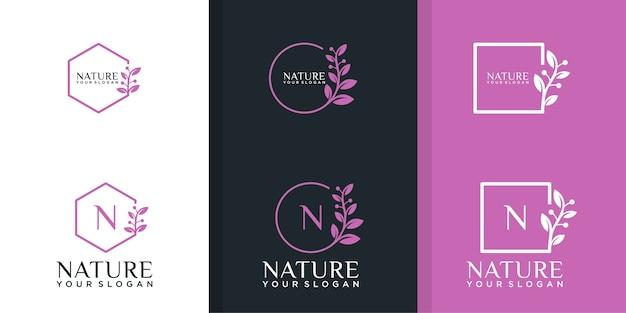 Schoonheid natuur logo ontwerpset