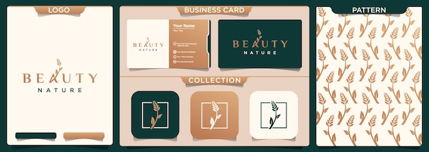 Schoonheid natuur logo ontwerpsjabloon en patroon