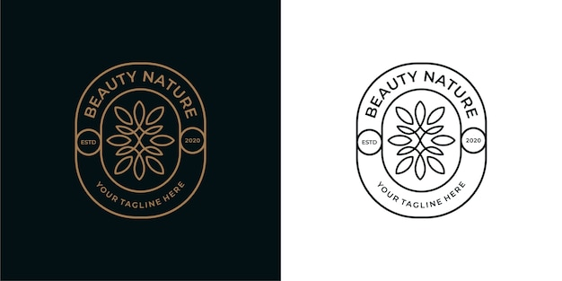 Schoonheid natuur vintage lijntekeningen logo ontwerp