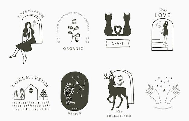 Schoonheid occulte collectie met vrouw herten kat bloem