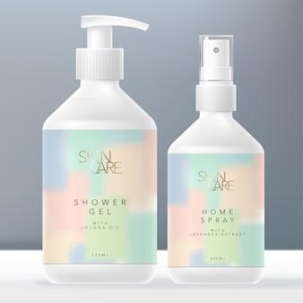 Schoonheid of huidverzorging handwas zeepdispenser of pompfles & home of aroma spray bottle packaging, pastel abstract painting design.