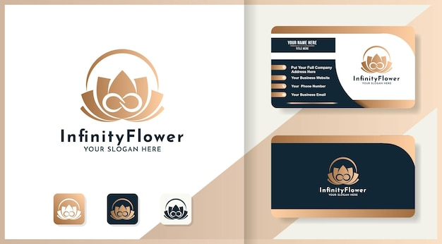 Schoonheid oneindig bloem logo ontwerp en visitekaartje