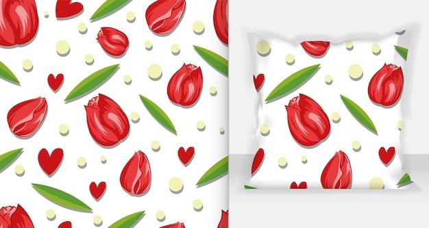 Schoonheid rode tulpen naadloze patroon vectorillustratie. witte achtergrond.