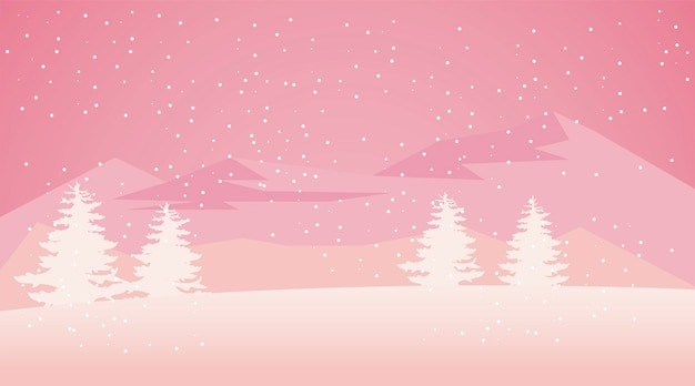 Schoonheid roze winterlandschap scène illustratie