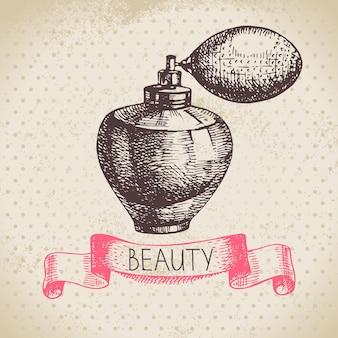 Schoonheid schets achtergrond. vintage handgetekende vectorillustratie van cosmetica