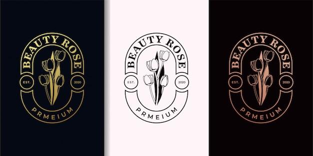 Schoonheid steeg elegant vintage gouden logo-ontwerp