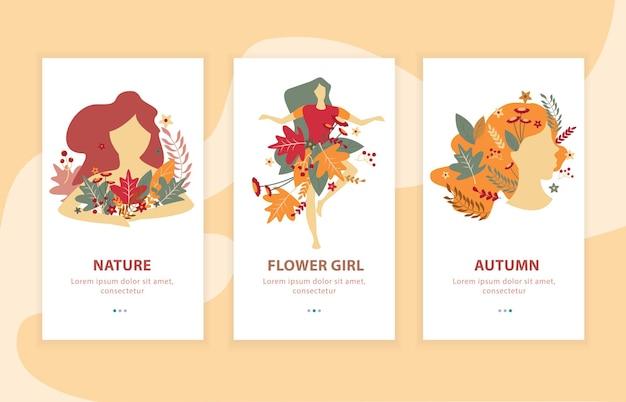 Schoonheid van herfstmeisjes met bloemendecoraties