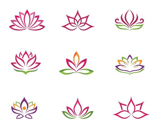 Schoonheid vector lotusbloemen ontwerp logo sjabloonpictogram