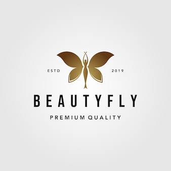 Schoonheid vliegende vrouw vlinder logo ontwerp illustratie