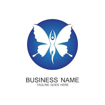 Schoonheid vliegende vrouwen vintage vlinder logo ontwerp-vector