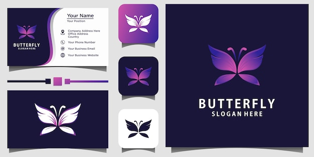 Schoonheid vlinder 3d logo ontwerp vector sjabloon visitekaartje