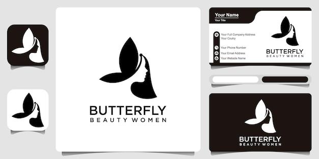 Schoonheid vlinder vrouw silhouet logo ontwerp inspiratie