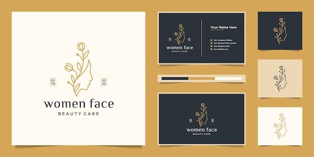 Schoonheid vrouw gezicht bloem met lijn art stijl logo en visitekaartje. vrouwelijk ontwerpconcept voor schoonheidssalon, massage, tijdschrift, cosmetica en spa.