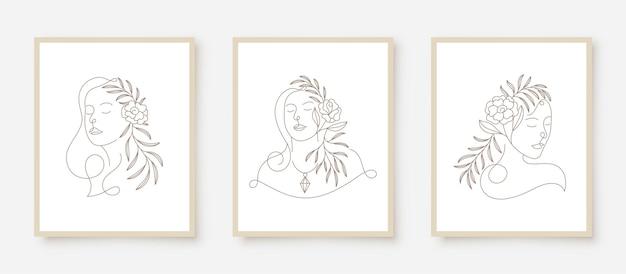 Schoonheid vrouw gezichten in lijn kunst bloemen frame