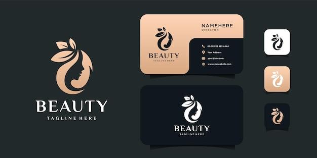 Schoonheid vrouw haar logo ontwerp en illustratie sjabloon voor visitekaartjes.