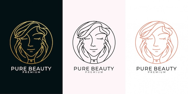 Schoonheid vrouw kapsalon lijn kunst stijl logo ontwerpset