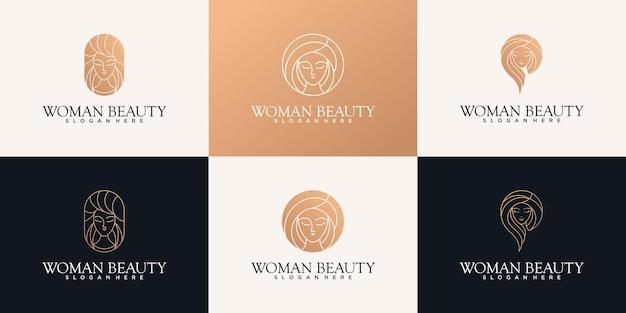 Schoonheid vrouw kapsalon logo ontwerpsjabloon met unieke lijn kunststijl