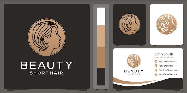 Schoonheid vrouw kort haar logo en visitekaartje sjabloon Premium Vector