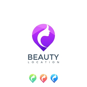 Schoonheid vrouw locatie logo met kleurrijk concept