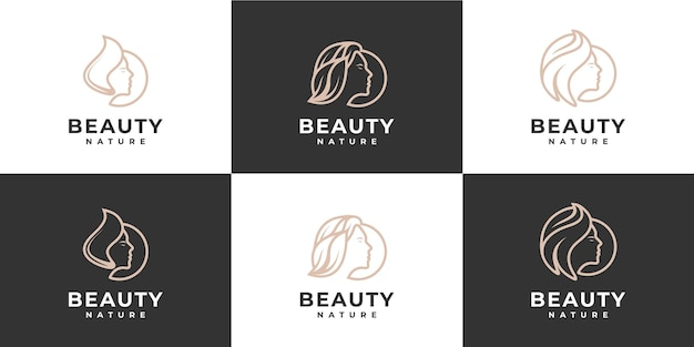 Schoonheid vrouw logo collectie