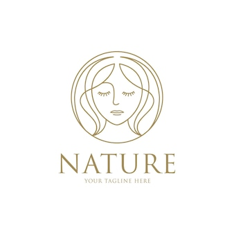 Schoonheid vrouw logo met lijn kunst ontwerpsjabloon