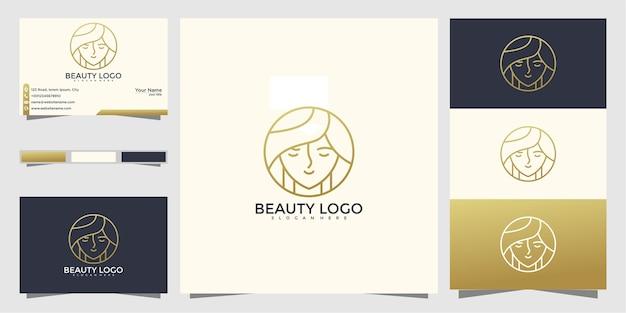 Schoonheid vrouw logo ontwerp met lijnstijl en visitekaartje