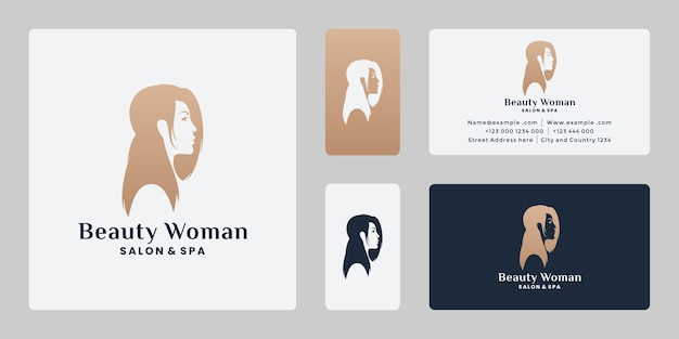 Schoonheid vrouw logo ontwerp voor salon, spa met gouden kleur.