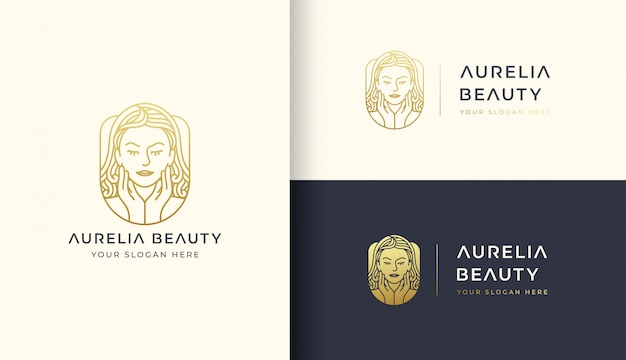 Schoonheid vrouw logo sjabloon