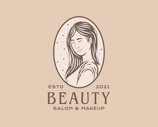 Schoonheid vrouw logo vrouw salon en spa logo ontwerpsjabloon