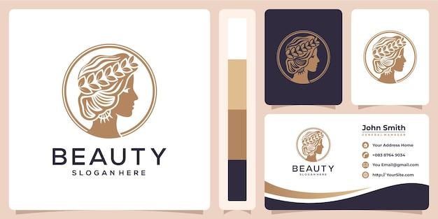 Schoonheid vrouw luxe logo en visitekaartje sjabloon