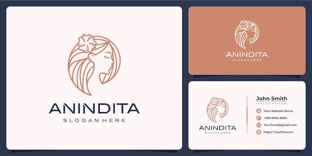 Schoonheid vrouw luxe monoline logo met sjabloon voor visitekaartjes