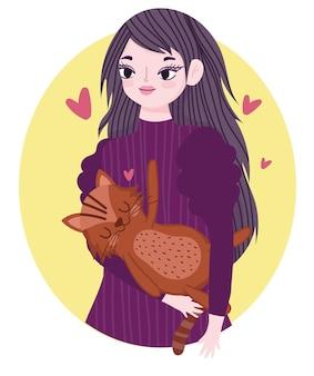 Schoonheid vrouw met kat huisdier katachtige dierlijk beeldverhaal illustratie