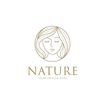 Schoonheid vrouw mode-logo met lijn kunst ontwerpsjabloon