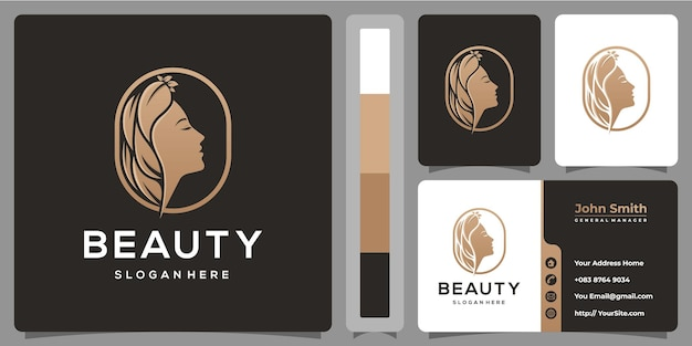 Schoonheid vrouw natuur logo ontwerp met sjabloon voor visitekaartjes