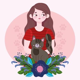 Schoonheid vrouw portret met kat cartoon, huisdier concept illustratie