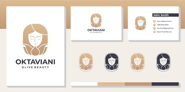 Schoonheid vrouw spa-logo met sjabloon voor visitekaartjes