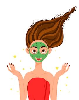 Schoonheid vrouwelijk gezicht met cosmetisch masker. cartoon stijl.