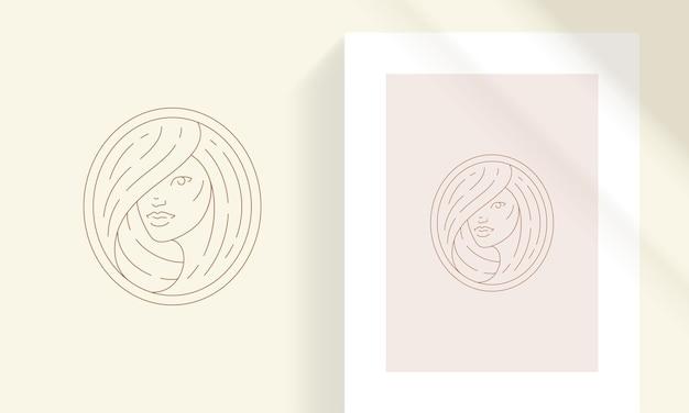 Schoonheid vrouwelijk portret met haren lijn kunst stijl vectorillustratie