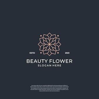 Schoonheid vrouwelijke bloem logo sjabloon. minimalistische, luxe, elegante salon.