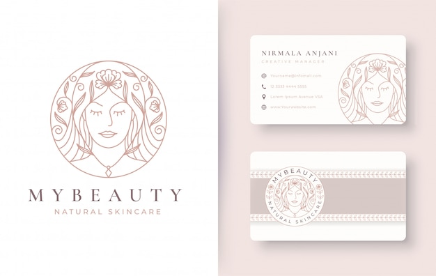 Schoonheid vrouwen bloemen lijntekeningen logo ontwerp