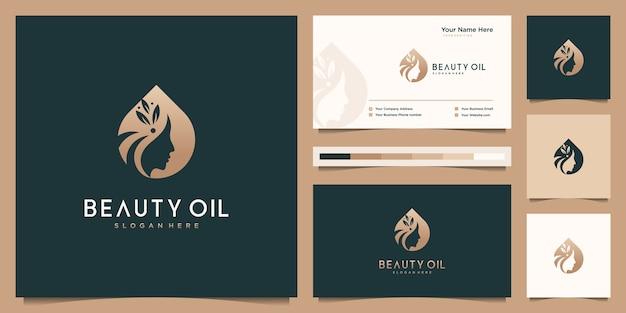 Schoonheid vrouwen en olie vrouwelijk logo ontwerp en sjabloon voor visitekaartjes. negatieve ruimte logo concept.