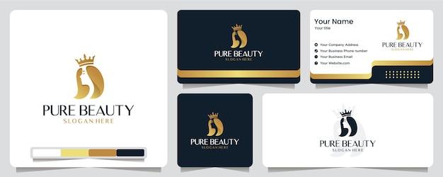 Schoonheid vrouwen, luxe, salon, spa, gouden kleur, banner, visitekaartje en logo-ontwerp